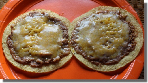 Tostada shells with beans and cheese
